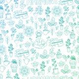 Blåa och gröna Harmony Seamless Pattern Stock Illustrationer