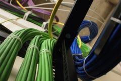 Blåa och gröna kablar Arkivbild