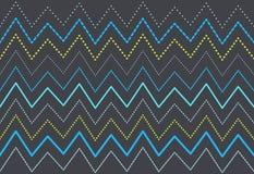 Blåa och gröna linjer modell för sicksack Det kan vara nödvändigt för kapacitet av designarbete Arkivbild
