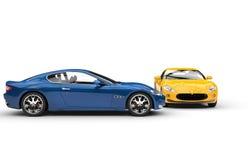 Blåa och gula bilar Royaltyfria Foton