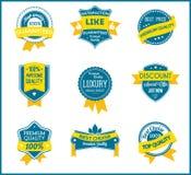 Blåa och gula marknadsföringsetiketter (uppsättningen av 9) Arkivbild