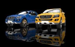 Blåa och gula SUVs Royaltyfria Bilder