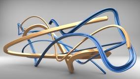 Blåa och guld- modern konstabstrakt begreppformer royaltyfri illustrationer