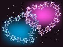 Blåa och purpurfärgade hjärtor Royaltyfri Foto