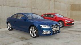 Blåa och röda bilar utanför Arkivbild