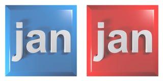 Blåa och röda par av fyrkantiga tryckknappar JANUARI - illustration för tolkning 3D vektor illustrationer