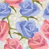 Blåa och röda rosor Royaltyfri Bild