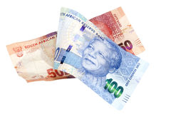 Blåa och röda söder - afrikan Rand Bank Notes Royaltyfri Foto