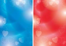 Blåa och röda vektorreklamblad med konturer av hjärtor och lutningen - bakgrunder för romantisk händelse royaltyfri illustrationer