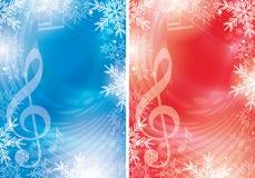 Blåa och röda vektorreklamblad med musikanmärkningar och snöflingor - jul vektor illustrationer
