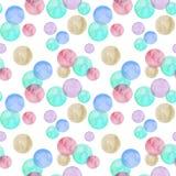 Blåa och rosa bubblor för vattenfärg på vit bakgrund seamless modell vektor illustrationer