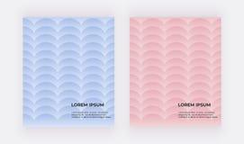Blåa och rosa geometriska bakgrunder Räkningar med sjöjungfruvåg royaltyfri illustrationer