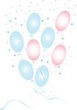 Blåa och rosa konfettier med baloons Royaltyfri Fotografi