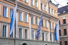 Blåa och vita bavarianflaggor Royaltyfri Fotografi
