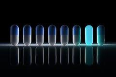 Blåa och vita pills royaltyfri illustrationer