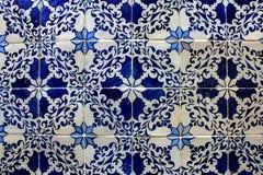 Blåa och vita tegelplattor, Lisbon, Portugal Fotografering för Bildbyråer