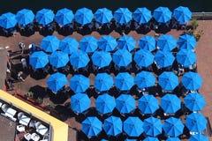 blåa paraplyer Arkivbilder