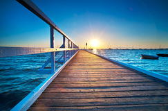 Blåa Pier Sunrise Arkivfoton