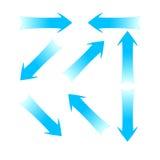 blåa pilar Fotografering för Bildbyråer