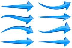 blåa pilar 3d Vektor Illustrationer