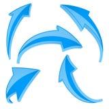 blåa pilar Uppsättning av skinande tecken 3d för böjelse och för kurva stock illustrationer