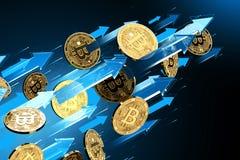 Blåa pilpunkter upp som Bitcoin BTC prislöneförhöjningar Cryptocurrency priser v?xer, det h?ga - risken - h?ga vinstbegreppet fra vektor illustrationer