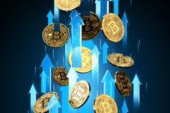 Blåa pilskott upp med hög hastighet som Bitcoin BTC prislöneförhöjningar Cryptocurrency priser v?xer, det h?ga - risken - h?ga vi royaltyfri illustrationer