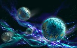 blåa planet stock illustrationer