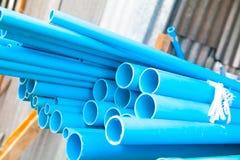 Blåa PVC-rör Fotografering för Bildbyråer