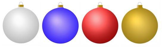 Blåa röda för silver och guldprydnader Fotografering för Bildbyråer
