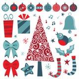 blåa röda julobjekt Royaltyfri Bild
