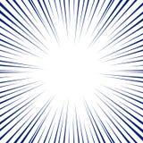 Blåa radiella linjer för humorbokbakgrund Manga Speed Frame vektor illustrationer