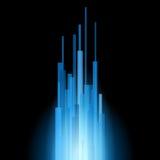 Blåa raka linjer abstrakt begrepp på svart bakgrund. Vektor Arkivbilder