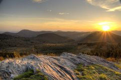 Blåa Ridge Sunset Fotografering för Bildbyråer