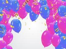 Blåa rosa ballonger, bakgrund för konfettibegreppsdesign Celebrat royaltyfri illustrationer