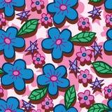 Blåa rosa färger blommar linjen vertikal sömlös modell för stil vektor illustrationer