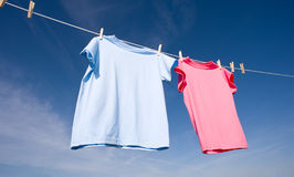blåa rosa skjortor t Royaltyfri Fotografi