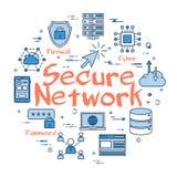 Blåa runda säkrar nätverksbegrepp vektor illustrationer
