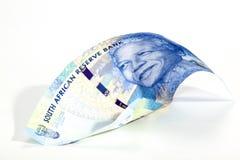 Blåa söder - afrikan Rand Bank Note på vit Arkivfoton
