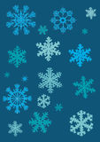 blåa samlingssnowflakes Royaltyfri Foto