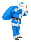 Blåa Santa Claus med klockan på vit Arkivfoton