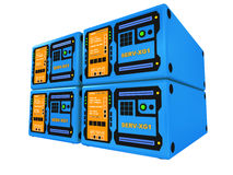 blåa serveror 3d 4 Arkivfoton