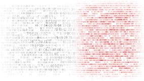 blåa siffror Rinnande övre för hexadecimalkod en datorskärm på vit bakgrund royaltyfri illustrationer
