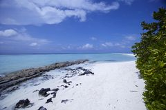 blåa skies för strand Arkivfoto