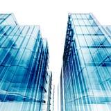 blåa skyskrapor stock illustrationer