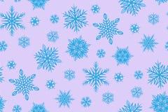 Blåa snöflingor på rosa bakgrund stock illustrationer