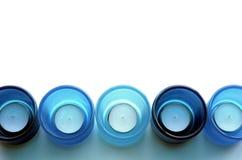 blåa stearinljushållare Fotografering för Bildbyråer