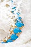 Blåa stenar för härliga smycken Arkivfoto