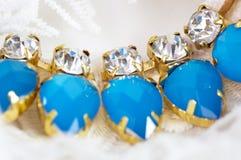 Blåa stenar för härliga smycken Fotografering för Bildbyråer