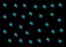 Blåa stjärnor på en svart bakgrund Arkivbild